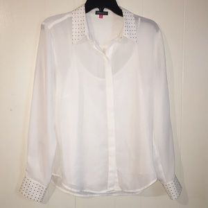 Vince Camuto Tops - Vince Camuto White Sheer Blouse, Size M